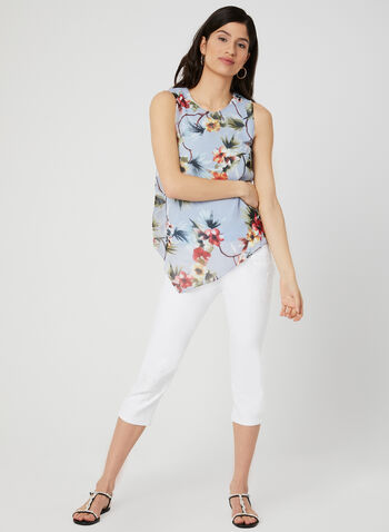 Floral Print Asymmetric Top, Blue, hi-res
