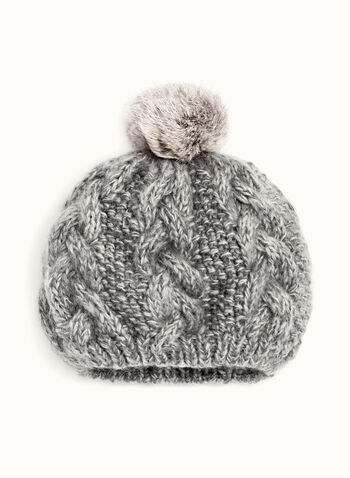Rabbit Fur Pom Pom Knit Beret, Grey, hi-res