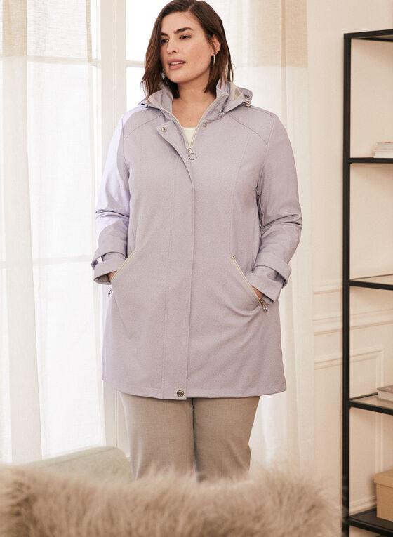 Novelti - Chevron Print Hooded Raincoat, Purple