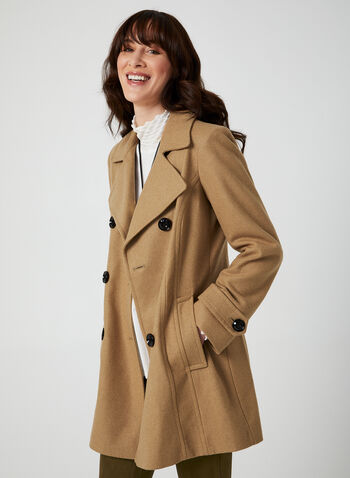 Anne Klein - Medium-Length Wool Coat, Brown, hi-res,  coat, notched collar, long sleeves, discreet pockets, wool-blend, shoulder pads, Anne Klein, fall 2019, winter 2019