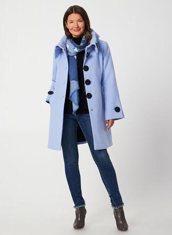 A-Line Wool-Like Coat, Blue,  fall winter 2019, wool, A-line, buttons
