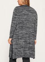 Long Sleeve Heather Knit Cardigan, Grey, hi-res