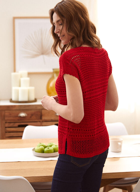 Crochet Sweater With Tank, Red