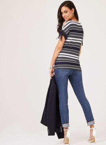 Striped Cold Shoulder Top, Blue, hi-res