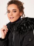 Faux Leather Detail Faux Fur Collar Coat, Black, hi-res