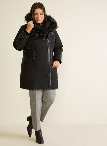 Manteau à fausse fourrure et similicuir, Noir,  automne hiver 2020, manteau, manteau d'hiver, capuchon, fausse fourrure, similicuir, faux cuir, cuir végane, zip, asymétrique, fermeture à glissière. poches, végane, hydrofuge