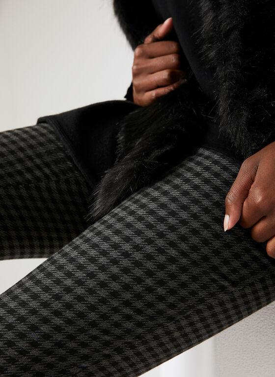 Modern Fit Houndstooth Print Pants, Black, hi-res