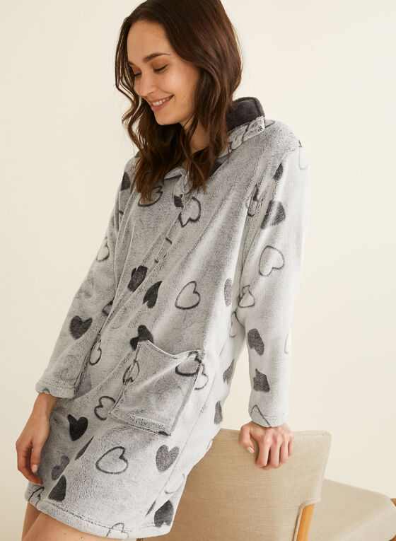 Karmilla Lingerie - Plush Heart Print Nightgown, Grey