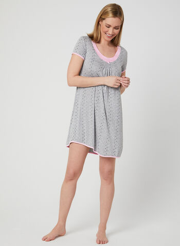 René Rofé - Dot Print Nightgown , Brown, hi-res