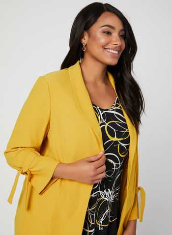 ¾ Sleeve Tie Detail Jacket, Yellow, hi-res,  spring 2019, open front, ¾ sleeves, 3/4 sleeves, spring 2019, tie details