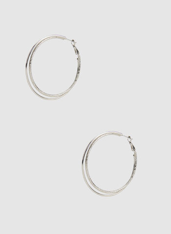 Double Hoop Earrings, Silver, hi-res,