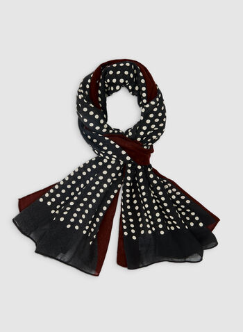 Polka Dot Print Oblong Scarf, Red, hi-res,  scarf, polka dot, contrasting border, fall 2019, winter 2019