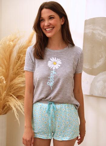 Daisy Print Pyjama Set, Grey,  spring summer 2021, pyjama, pj, set, sleepwear, tee, shorts, capri, pull-on, elastic waist, short sleeve, contrast, soft, straight leg, daisy print, slogan, floral print