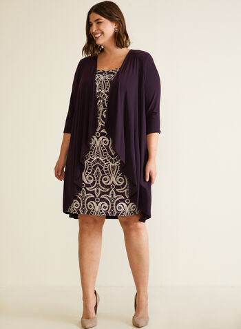Brocade Dress Cardigan Set, Purple,  fall winter 2020, short dress, sleeveless, round neck, long cardigan, ¾ sleeves, jersey, stretch