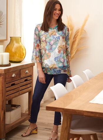 Charlie B - Fluid Printed Blouse, Multi,  spring summer 2021, Charlie B, designer, brand, silk, silky, top, tunic, blouse, sheer, abstract print