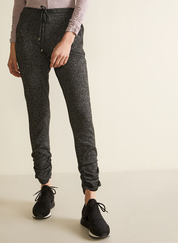 Ruched Detail Jogger Pants, Grey,  pants, jogger, pull-on, drawstring, slim leg, sweater knit, spring summer 2021
