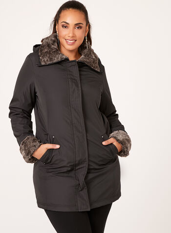 Weatherproof - Hooded Faux-Fur Trim Coat, , hi-res