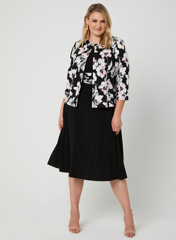 Floral Print Dress & Jacket Set, Black,  sleeveless, fit & flare, blazer, spring 2019
