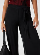 Pantalon pull-on à jambe large et maille filet, Noir, hi-res