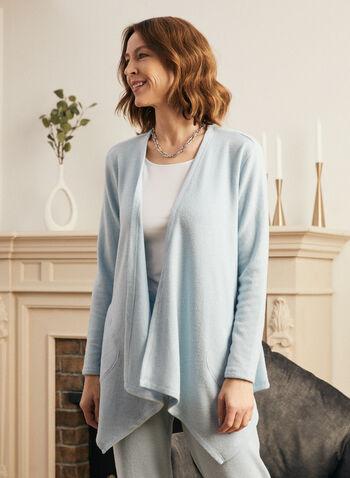 Haut ouvert en tricot , Bleu,  haut, par-dessus, ouvert, manches 3/4, poches, printemps été 2021