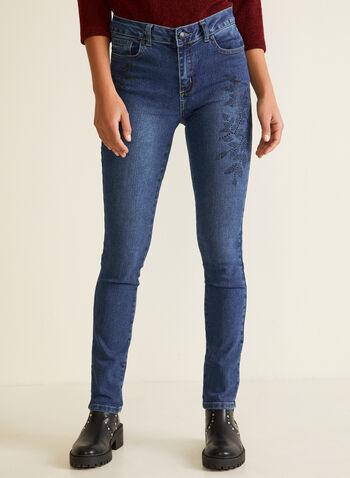 Jeans jambe étroite à cristaux, Bleu,  automne hiver 2020, jeans, denim, jambe étroite, ajusté, poches, cristaux, strass, ornement, garniture, fleurs, fleuri, floral, GG Jeans