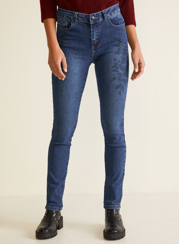 Straight Leg Rhinestone Jeans, Blue,  Fall winter 2020, jeans, rhinestone, straight leg, floral, crystal