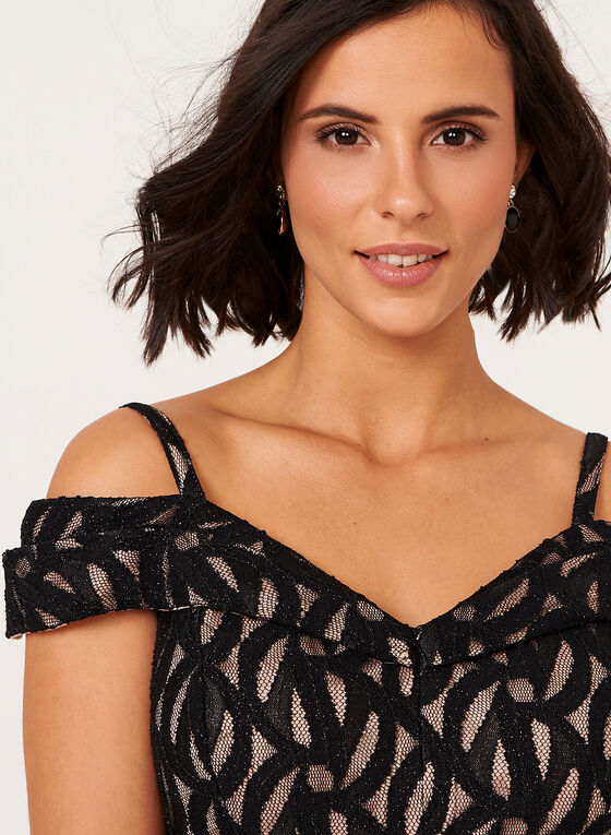 Bardot Off The Shoulder Lace Dress, Black, hi-res