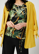 Tropical Print Jersey Top, Black, hi-res