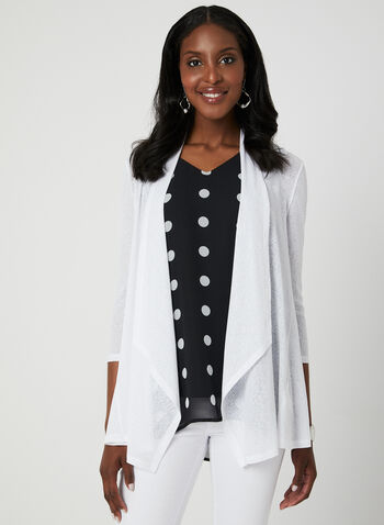 Cardigan ouvert en cascade, Blanc, hi-res,  manches ¾, printemps 2019, transparent, transparence