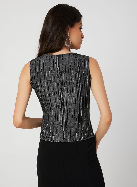 Jacquard Double Knit Top, Black, hi-res