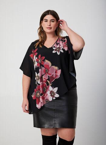 Blouse poncho en mousseline fleurie, Noir, hi-res,  blouse, poncho, mousseline, fleurs, col V, épaules ajourées, automne hiver 2019