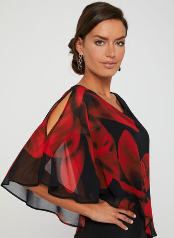 Floral Print Poncho Dress, Black,  chiffon, short sleeves, fall 2019, winter 2019