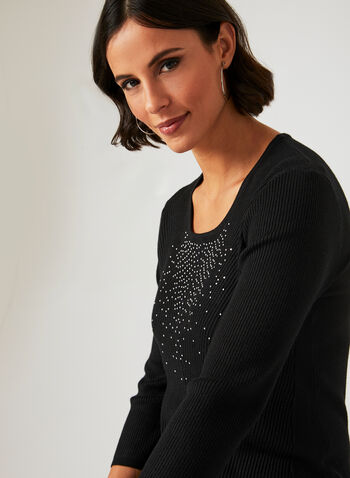 Crystal Embellished Sweater, Black, hi-res