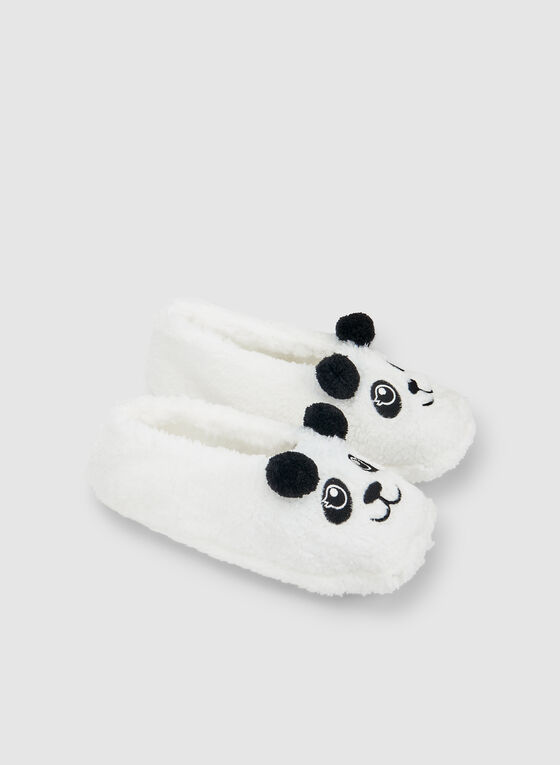 Panda Bear Slippers, White, hi-res