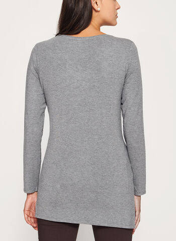 V-Neck Long Sleeve Top, Grey, hi-res