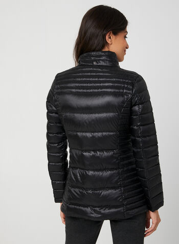 Manteau matelassé en duvet compressible, Noir, hi-res,  manteau, matelassé, duvet, capuchon amovible, synthétique, naturel, automne hiver 2019