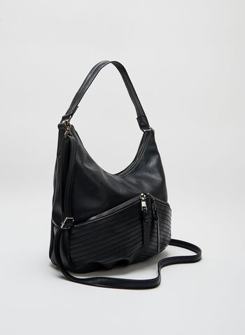 Zip Front Hobo Bag, Black, hi-res
