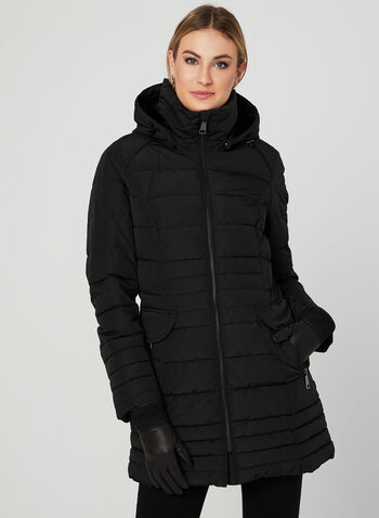 Chillax - Hooded Quilted Coat, Black, hi-res