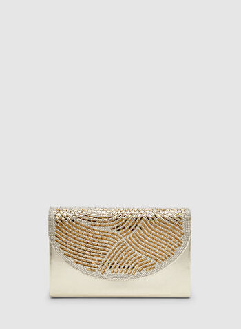 Crystal Baguette Clutch, Gold,  crystals, flapover, fall 2019, winter 2019, half moon