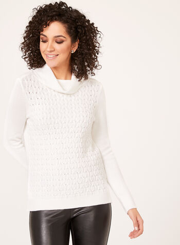 Cowl Neck Knit Sweater, Off White, hi-res