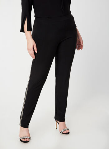 Joseph Ribkoff - City Fit Slim Leg Pants, Black, hi-res,  fall winter 2019, slim leg, City fit, crystal details