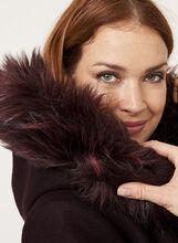 Manteau aspect laine et col en fausse fourrure amovible, Pourpre, hi-res
