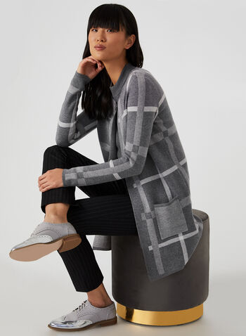 Plaid Print Cardigan, Grey, hi-res,  cardigan, open front, sweater, plaid print, print sweater, print, fall 2019, winter 2019
