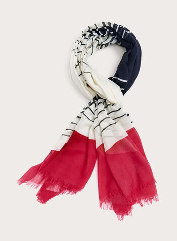Fringed Stripe Print Scarf, Red, hi-res