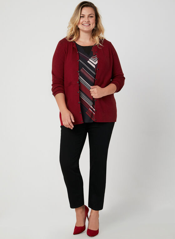 Long Sleeve Knit Cardigan, Red