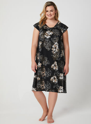Hamilton – Floral Print Nightshirt, White, hi-res,  floral print nighty, floral print pyjama, pajama, nightgown