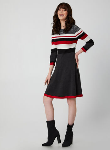 Fit & Flare Knit Dress, Silver, hi-res,  dress, day dress, knit, 3/4 sleeves, long sleeves, stripes, fall 2019, winter 2019