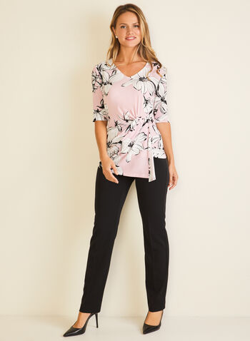 Floral Print Twist Detail Top, Multi,  top, floral, elbow sleeves, twist, jersey, asymmetric, fall winter 2020
