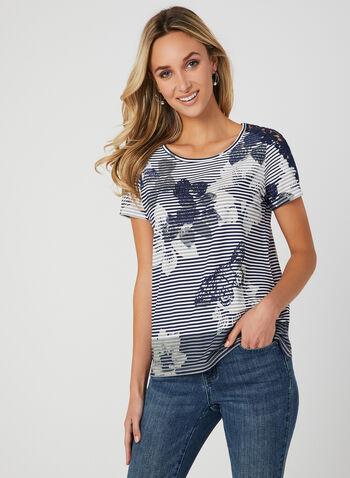 T-shirt rayé avec imprimé floral, Bleu, hi-res,