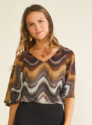 Abstract Print Kimono Sleeve Blouse, Brown,  blouse, top, abstract, kimono, crepe, spring summer 2020
